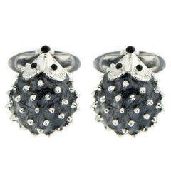 Jona Sterling Silver Enamel Hedgehog Cufflinks