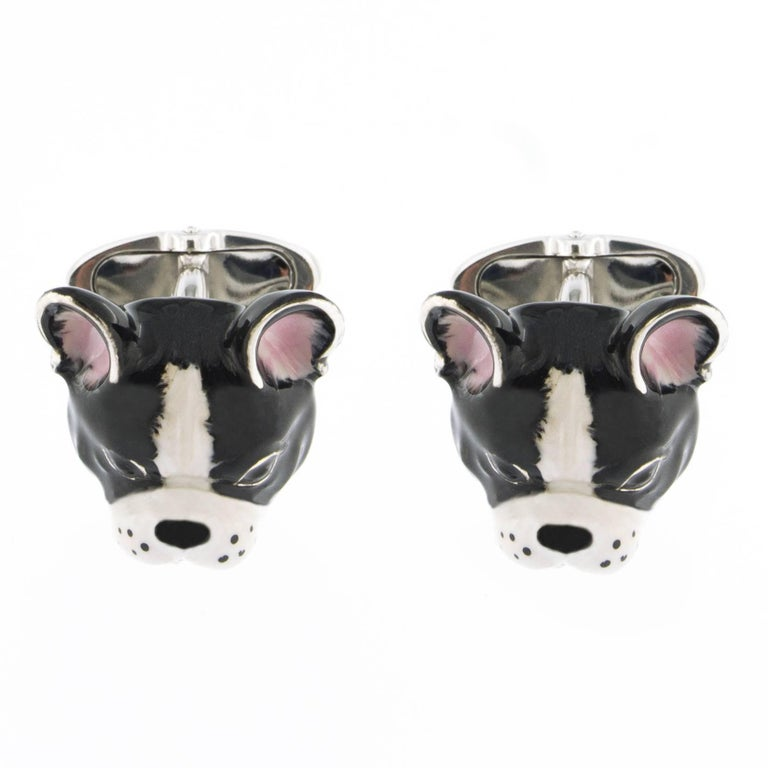 Jona design collection, hand crafted in Italy, Sterling Silver dog Cufflinks with black and white enamel. Toggle back.  Dimensions: L 0.77 in /  W 0.59 in / D 0.53 in L 19.5 / W 15.04 in / D 13.23 mm  All Jona jewelry is new and has never been