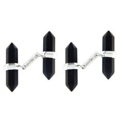 Jona 18k White Gold Onyx Prism Bar Cufflinks