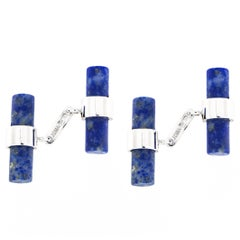 Jona Matte Finish Lapis Lazuli 18k White Gold Cufflinks