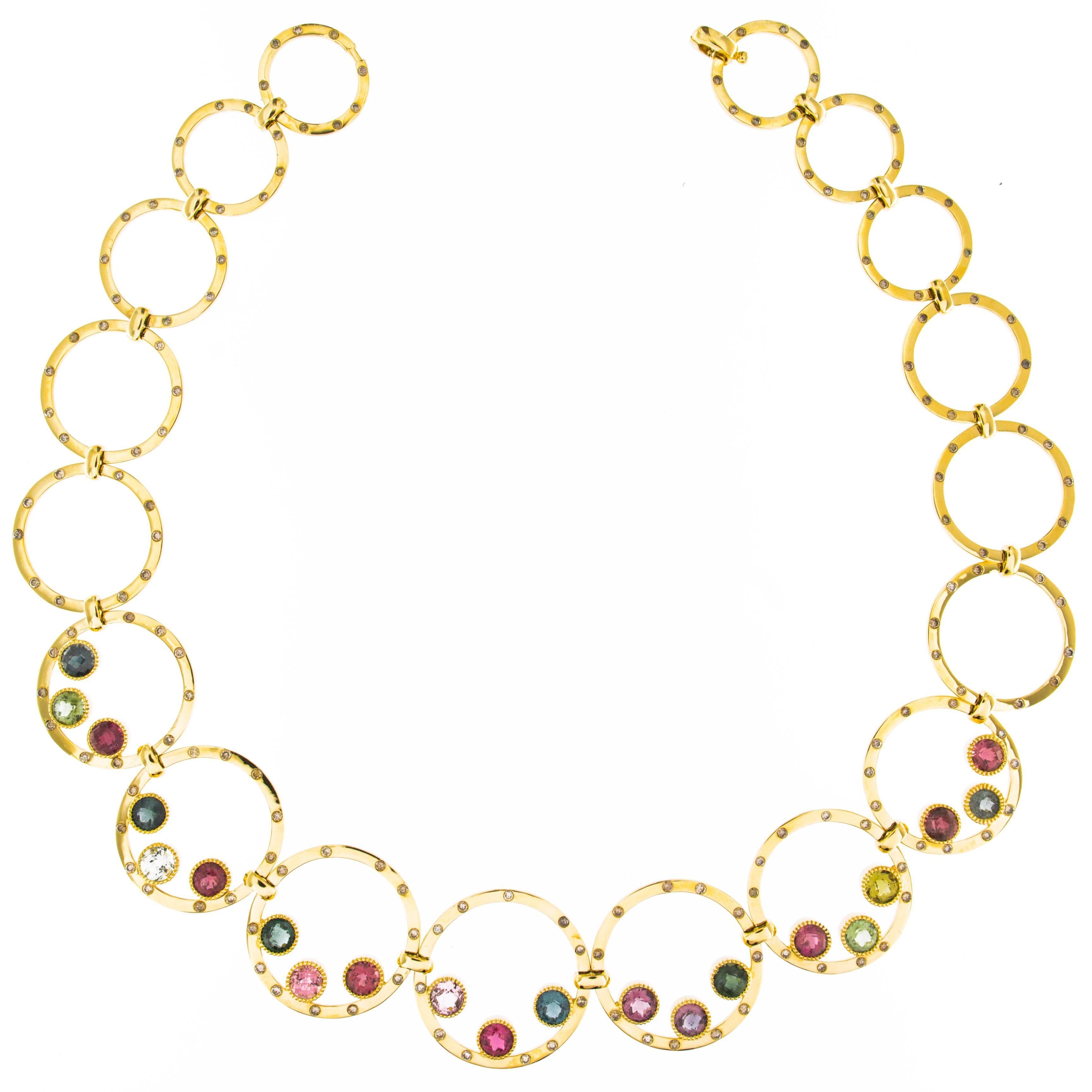 Jona Tourmaline White Diamond 18 karat Yellow Gold Link Necklace