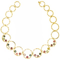 Jona Tourmaline Diamond Yellow Gold Link Necklace