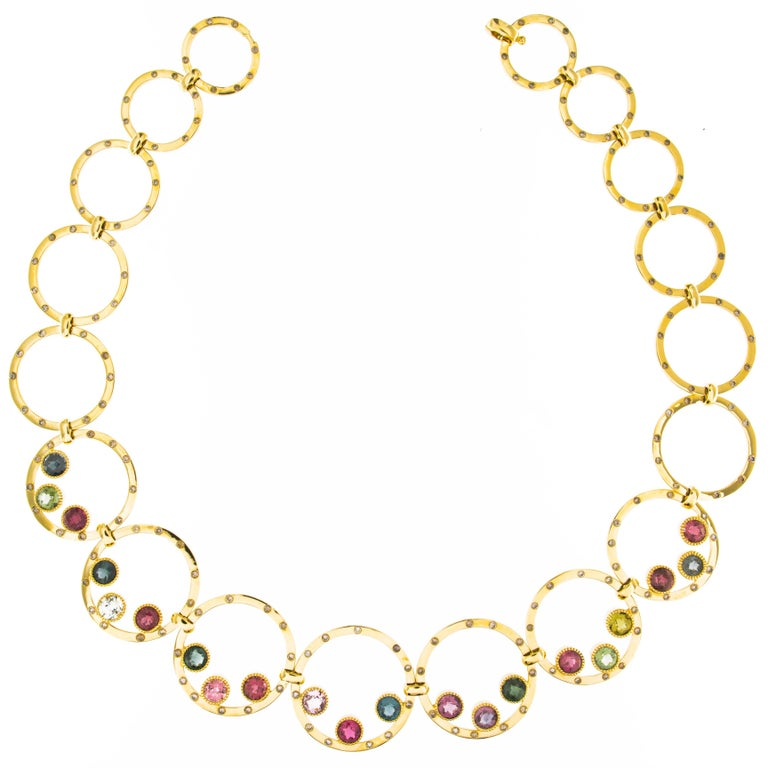 Jona Tourmaline Diamond Yellow Gold Link Necklace 1