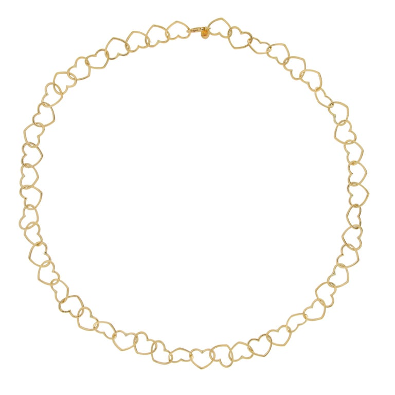Jona 18 Karat Yellow Gold Multi Heart Link Chain Necklace