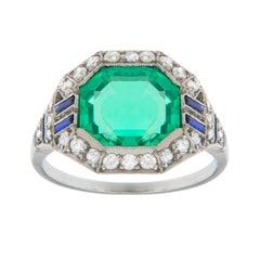 Colombian Emerald Diamond Platinum Art Deco Ring