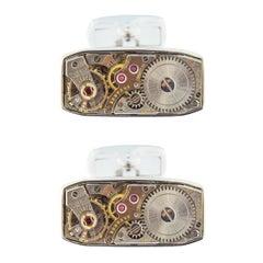Jona Sterling Silver Vintage Watch Movement Cufflinks