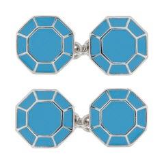 Jona Turquoise Enamel Sterling Silver Octagonal Cufflinks