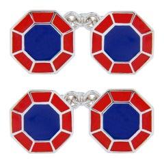 Jona Blue Red Enamel Sterling Silver Octagonal Cufflinks