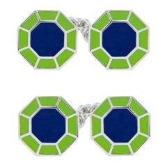 Jona Blue Green Enamel Sterling Silver Octagonal Cufflinks