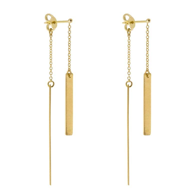 Jona 18 Karat Yellow Gold Bar Pendant Earrings
