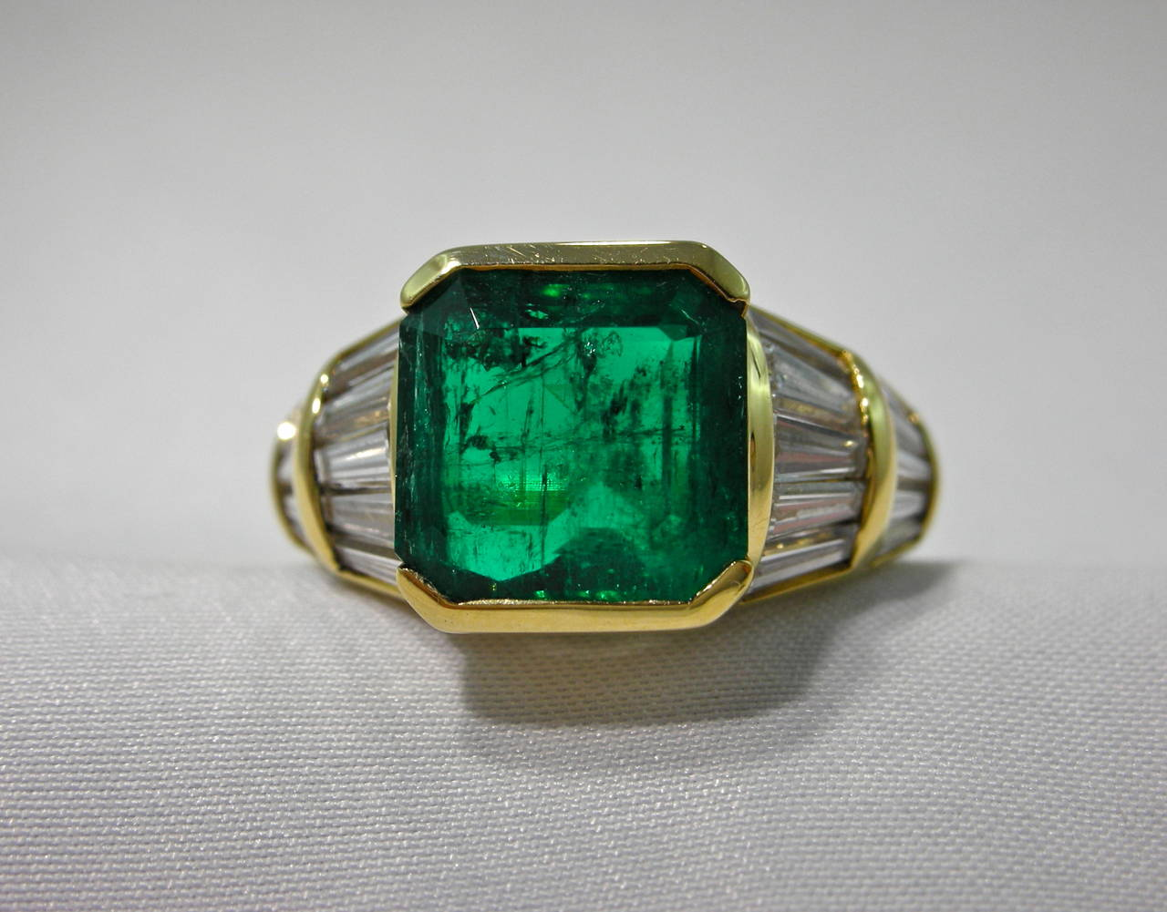 jona emerald baguette gold band ring image 6