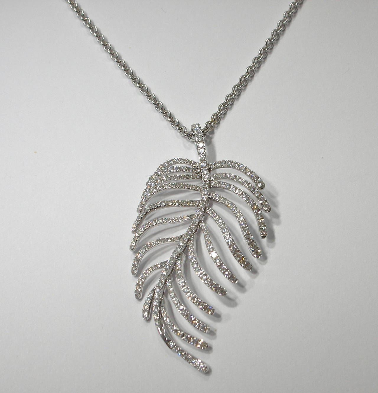 Jona Articulated Diamond Gold Feather Pendant 2