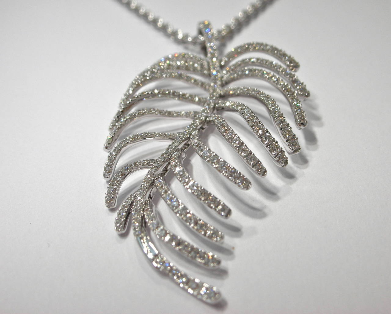 Jona Articulated Diamond Gold Feather Pendant 3