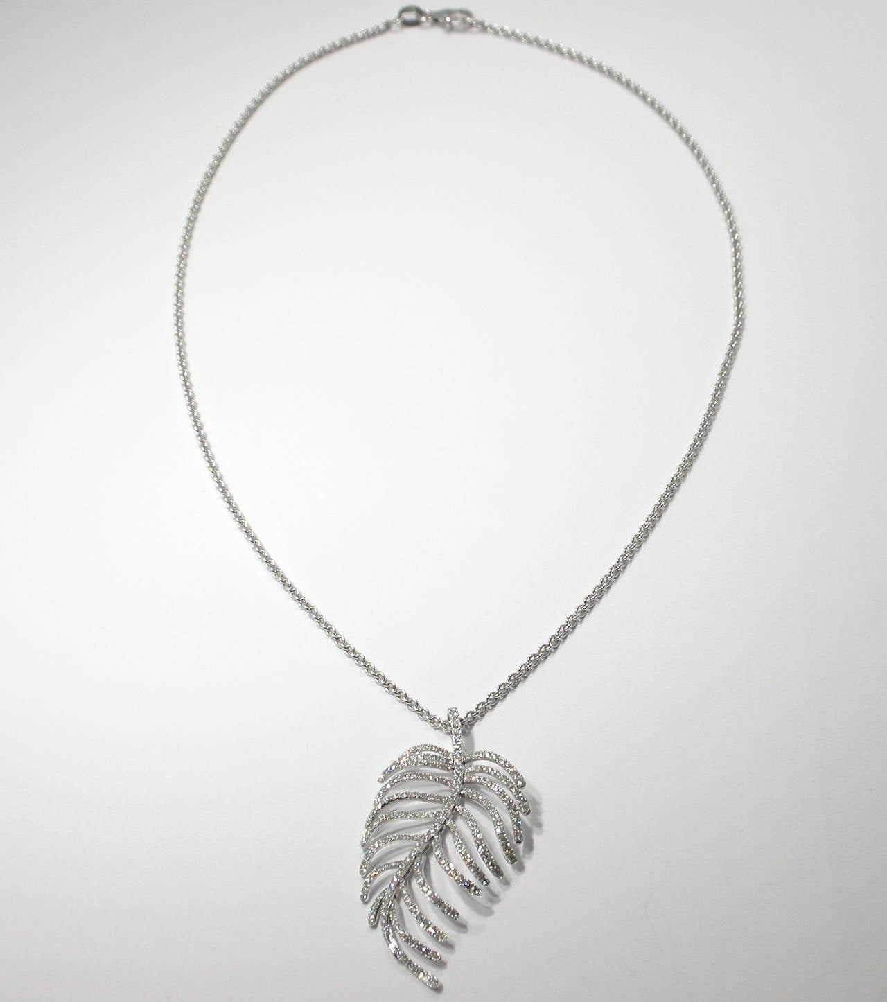 Jona Articulated Diamond Gold Feather Pendant 5