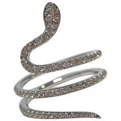 Jona White Diamond 18 Karat White Gold Coil Snake Ring
