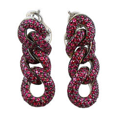 Jona Ruby Gold Curb Link Chain Earrings