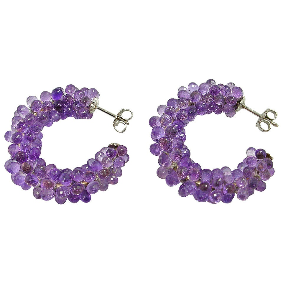 jona amethyst and gold hoop earrings for sale at 1stdibs