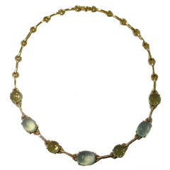 Jona Prehnite Citrine Diamond Yellow Gold Necklace