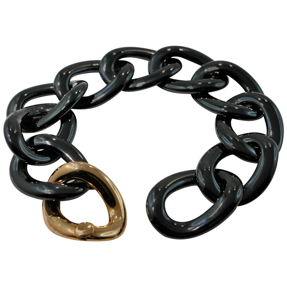 Jona High Tech Black Ceramic Gold Curb Link Bracelet