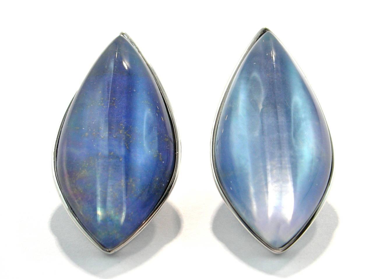 Women's Jona Lapis Lazuli Quartz Mother of Pearl 18 Karat White Gold Stud Earrings For Sale