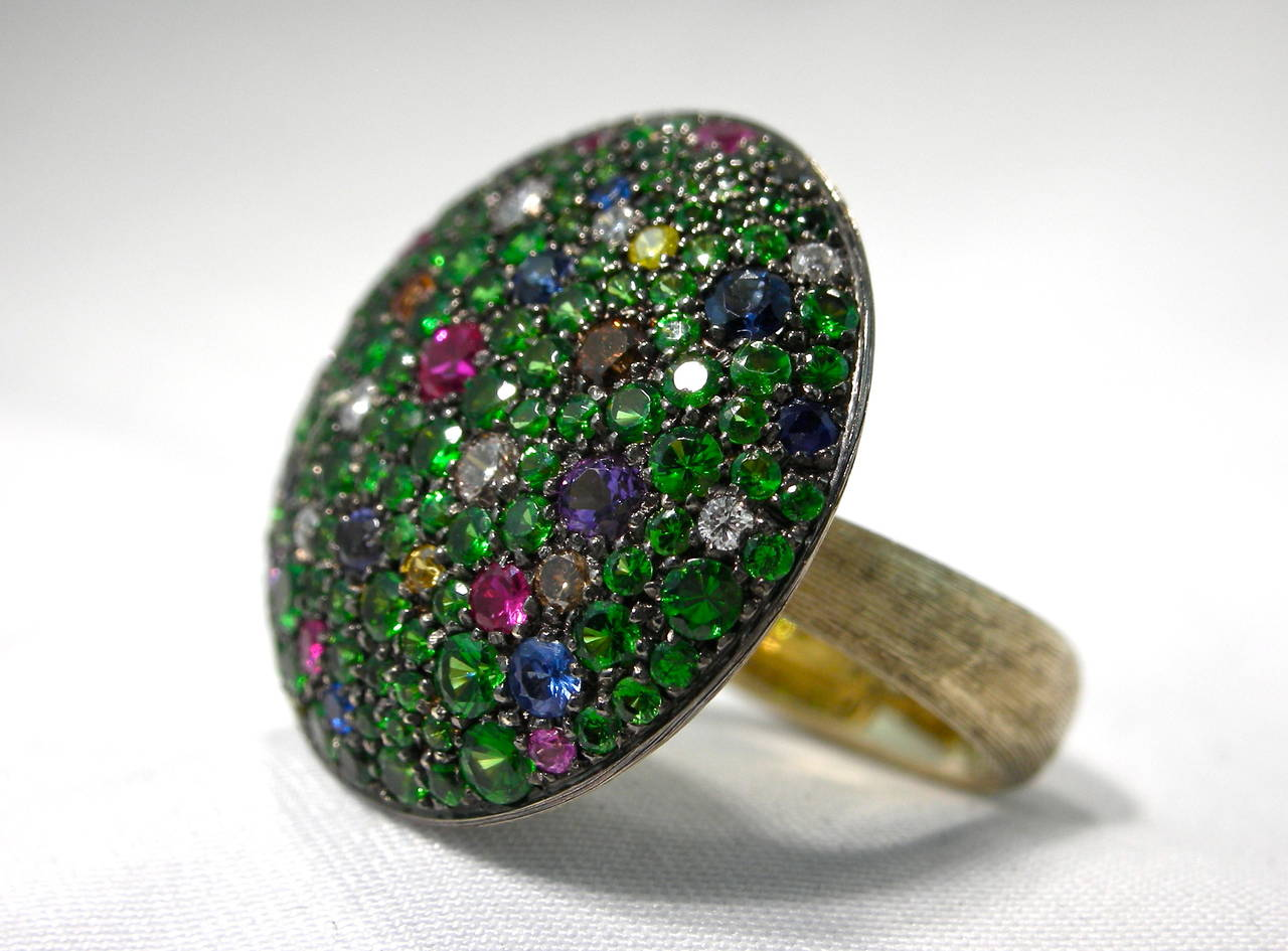 Jona Tutti Frutti Pave Gold Cocktail Ring 8