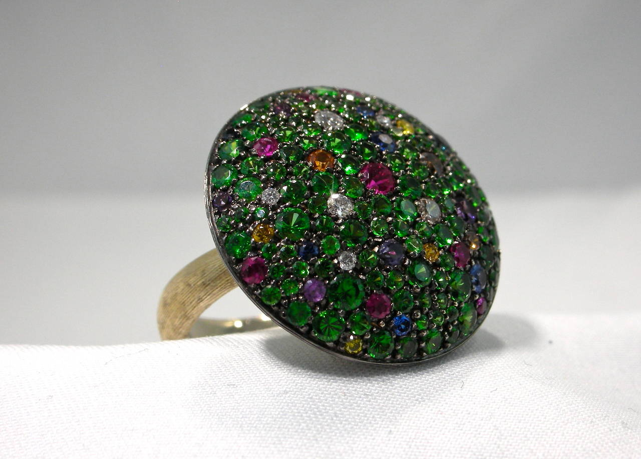 Jona Tutti Frutti Pave Gold Cocktail Ring 9