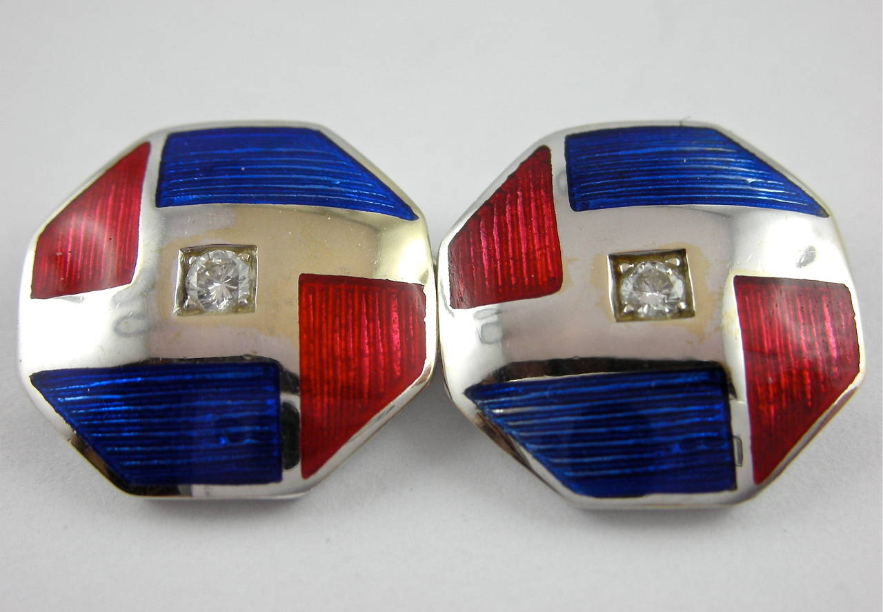 Octagonal shape blue and red enamel 18 Karat white gold pair of cufflinks set with four white diamonds weighing 0.70 carats in total, made in Italy by Jona. Dimensions: mm 13.40 x 13.40 All Jona jewelry is new and has never been previously owned or