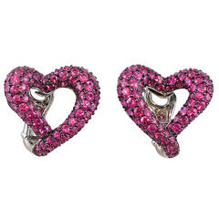 Jona Open Heart Intense Pink Sapphire 18 Karat White Gold Clip-On Earrings