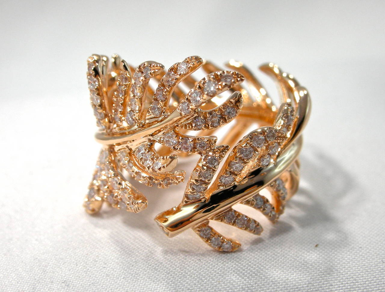 Jona Diamond Gold Wrap Around Feather Band Ring For Sale