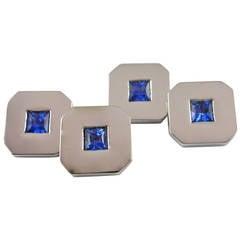 Jona 18k White Gold Blue Sapphire Cufflinks