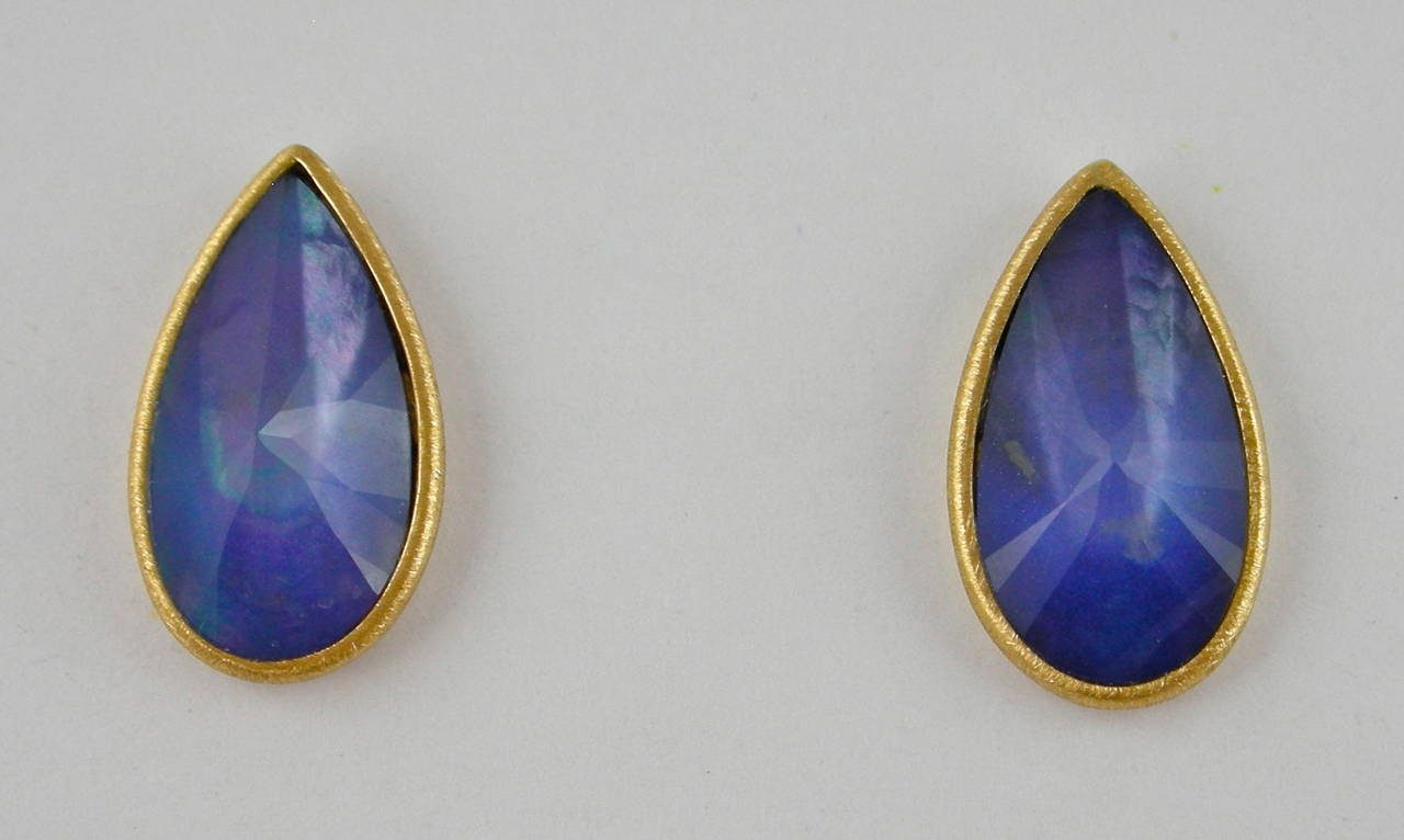 Multiple layer natural gemstones crazy cut drops weighing 5.3 carats( Lapis Lazuli, quartz, mother of pearl) mounted in 18 karat yellow gold stud earrings designed and hand crafted in Italy by Jona.   Thanks to our original and exclusive
