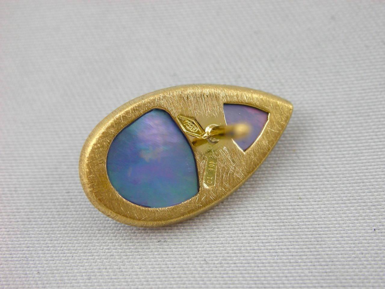 Women's Jona Lapis Lazuli Quartz & Mother of Pearl Gold Earrings