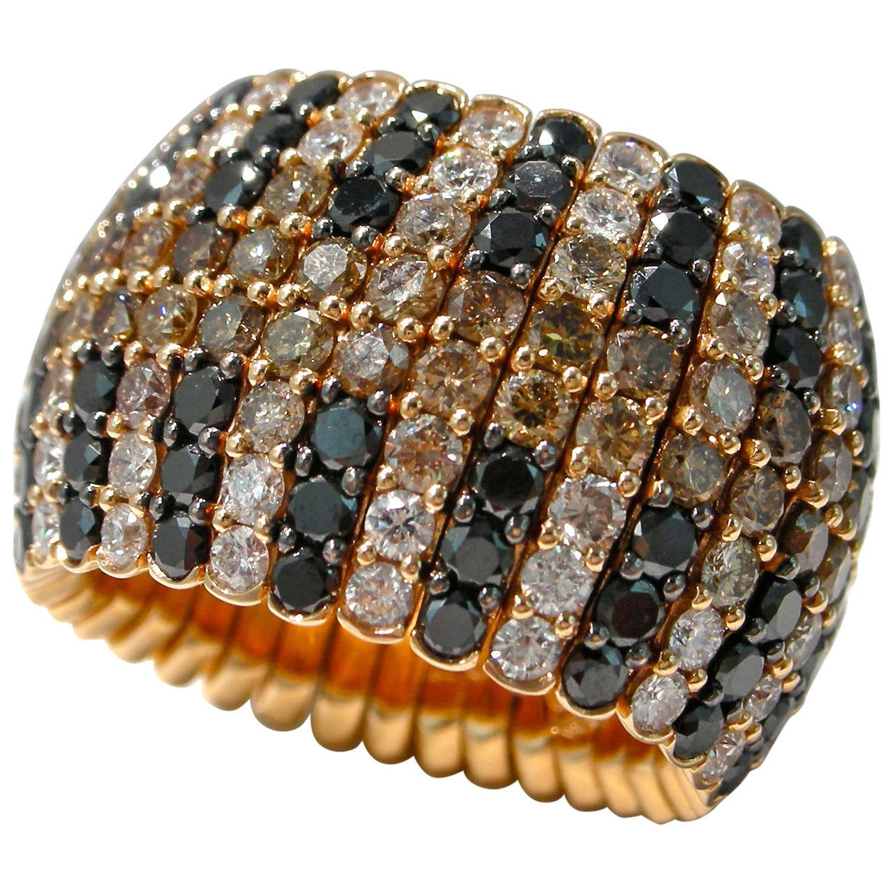 Jona Black Brown and White Diamond 18k Rose Gold Flexible Band Ring