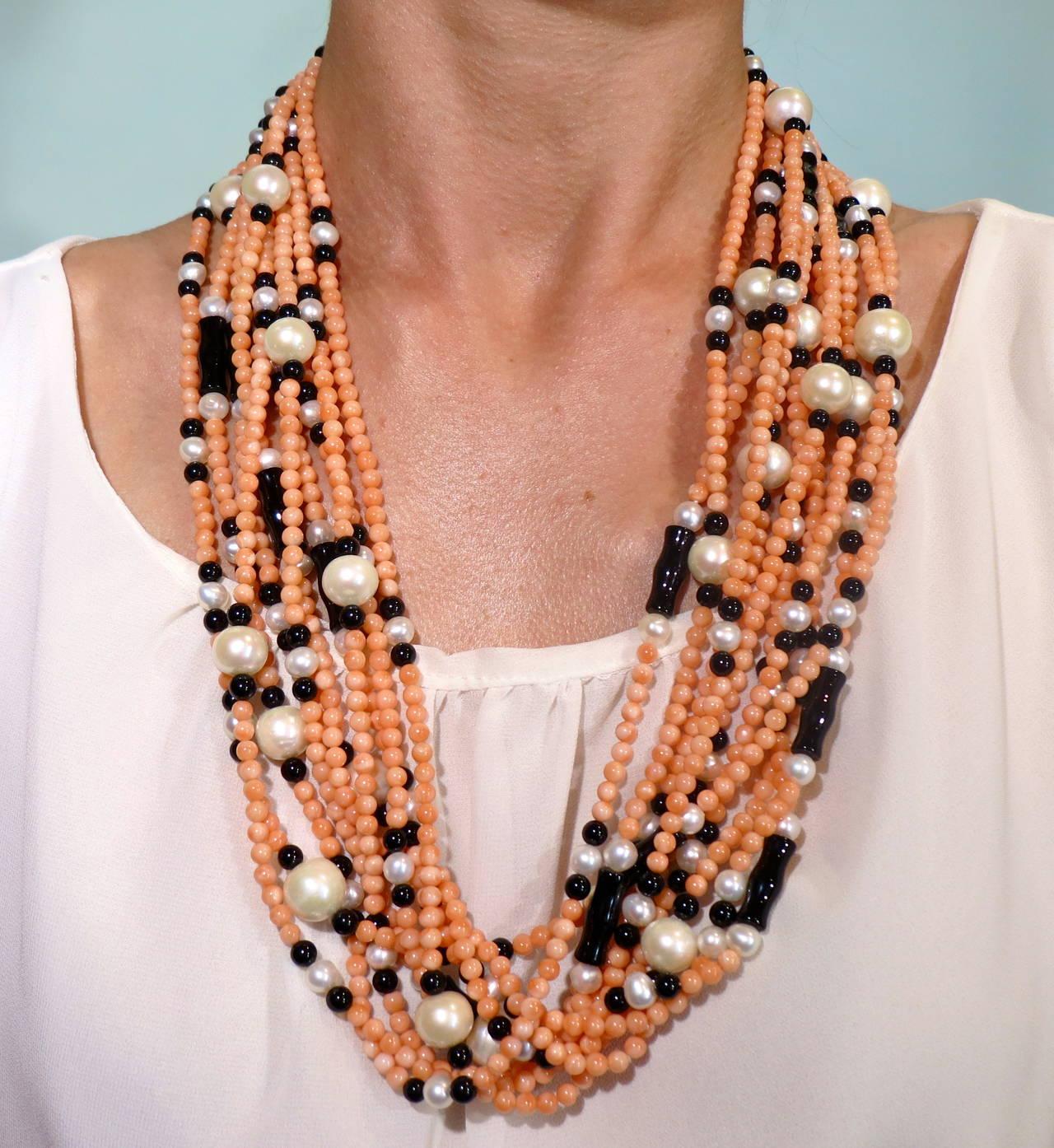 Jona Coral Pearl Onyx Multi Strand Necklace 2