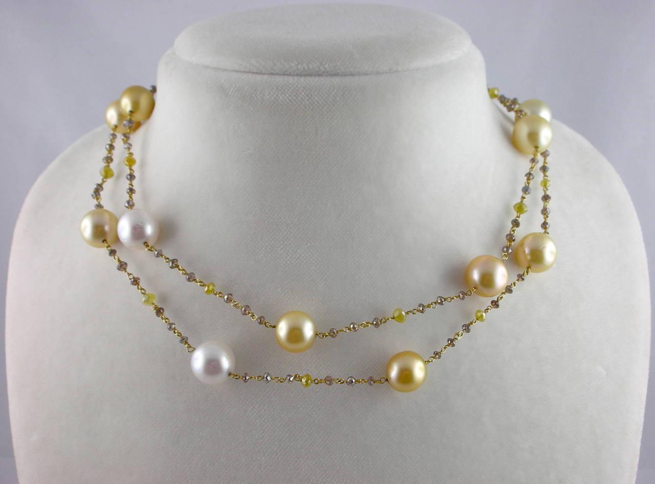 Jona South Sea Pearl Briolette Cut Diamond Sautoir 18 Karat Yellow Gold Necklace For Sale 1