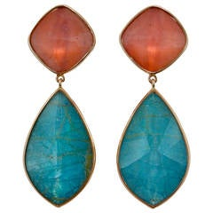 Jona Apatite Pink Opal Quartz 18 Karat Rose Gold Drop Earrings