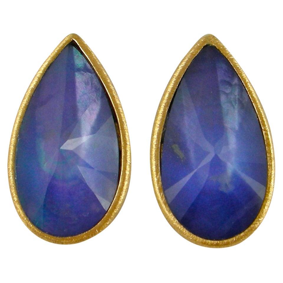 Jona Lapis Lazuli Quartz & Mother of Pearl Gold Earrings