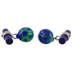 Jona Chrysoprase Lapis Lazuli 18 Karat White Gold Ladybug Cufflinks