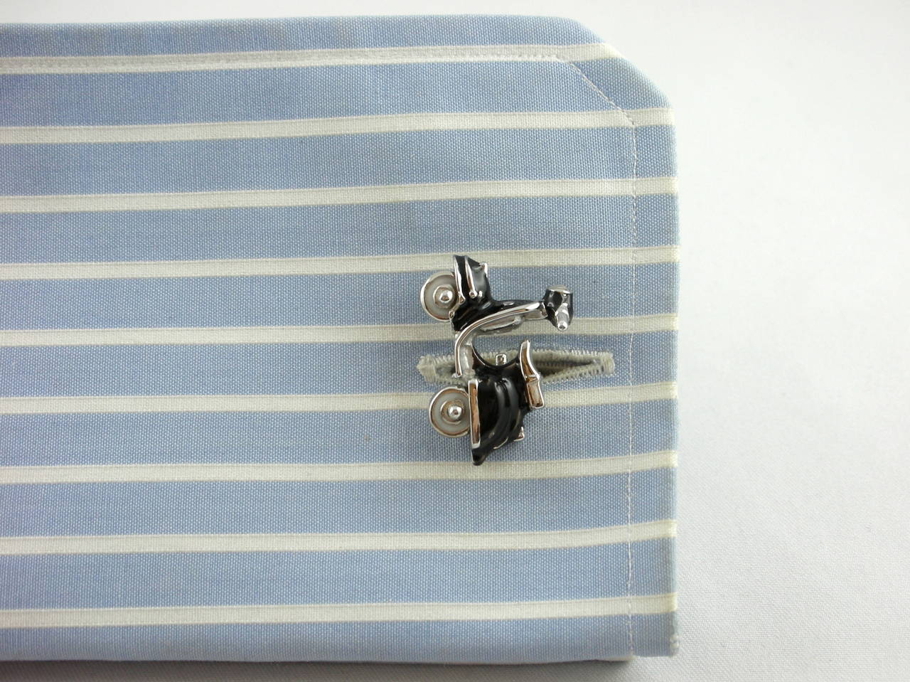 Jona Enamel Silver Scooter Cufflinks For Sale 3