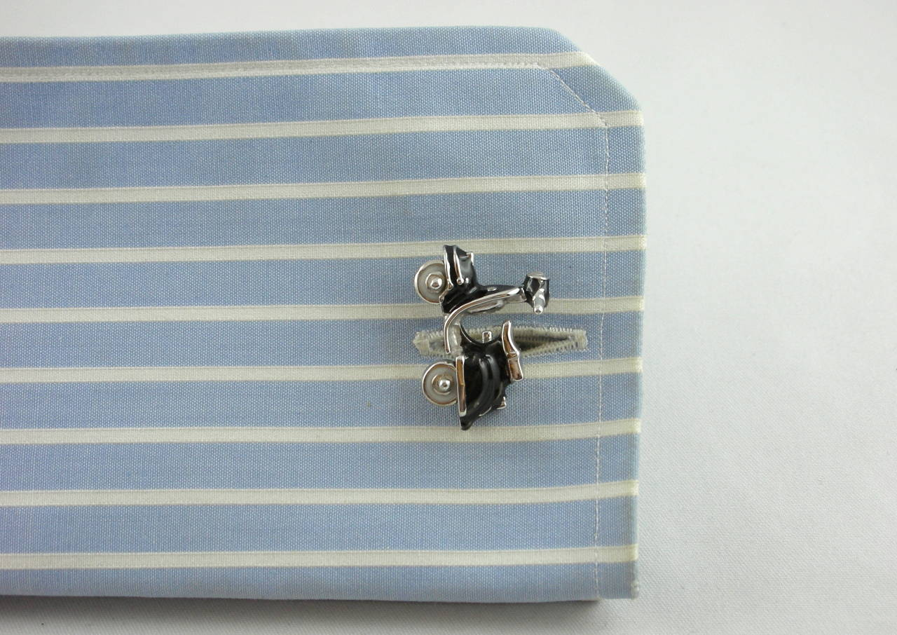 Jona Enamel Silver Scooter Cufflinks For Sale 4