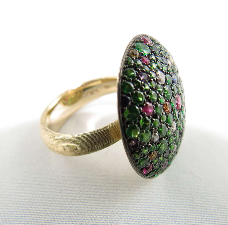 Jona Tutti Frutti Pave Gold Cocktail Ring 2