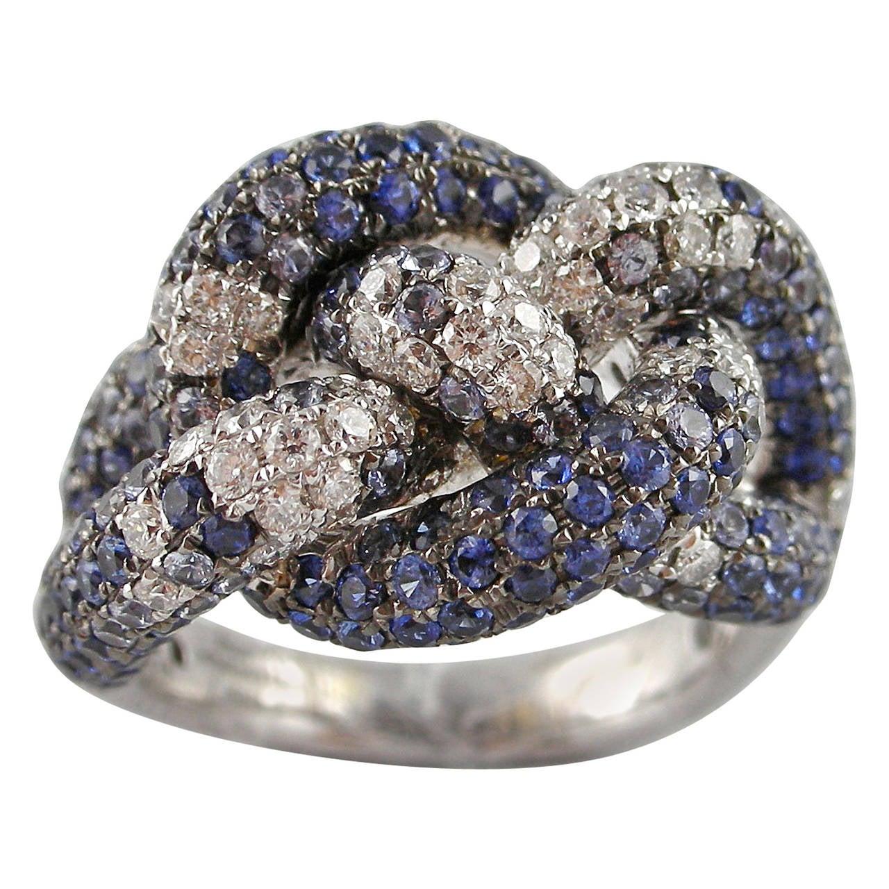 jona sapphire pav 233 gold knot ring at 1stdibs