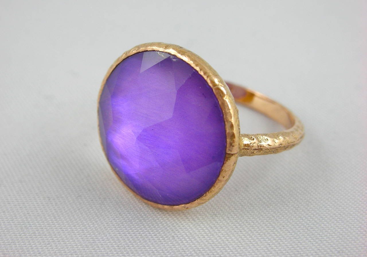 Jona Amethyst & Mother of PearlGold Ring 2