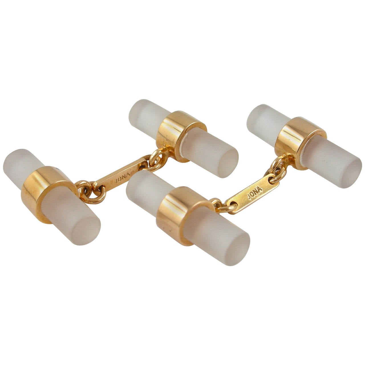 Jona Rock Crystal 18K Rose Gold Bar Cufflinks For Sale