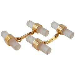 Jona Rock Crystal 18K Rose Gold Bar Cufflinks