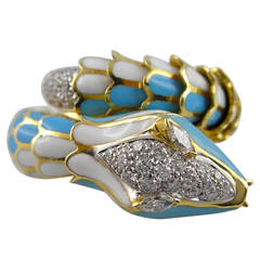 Jona Enamel Diamond Gold Flexible Coil Snake Ring