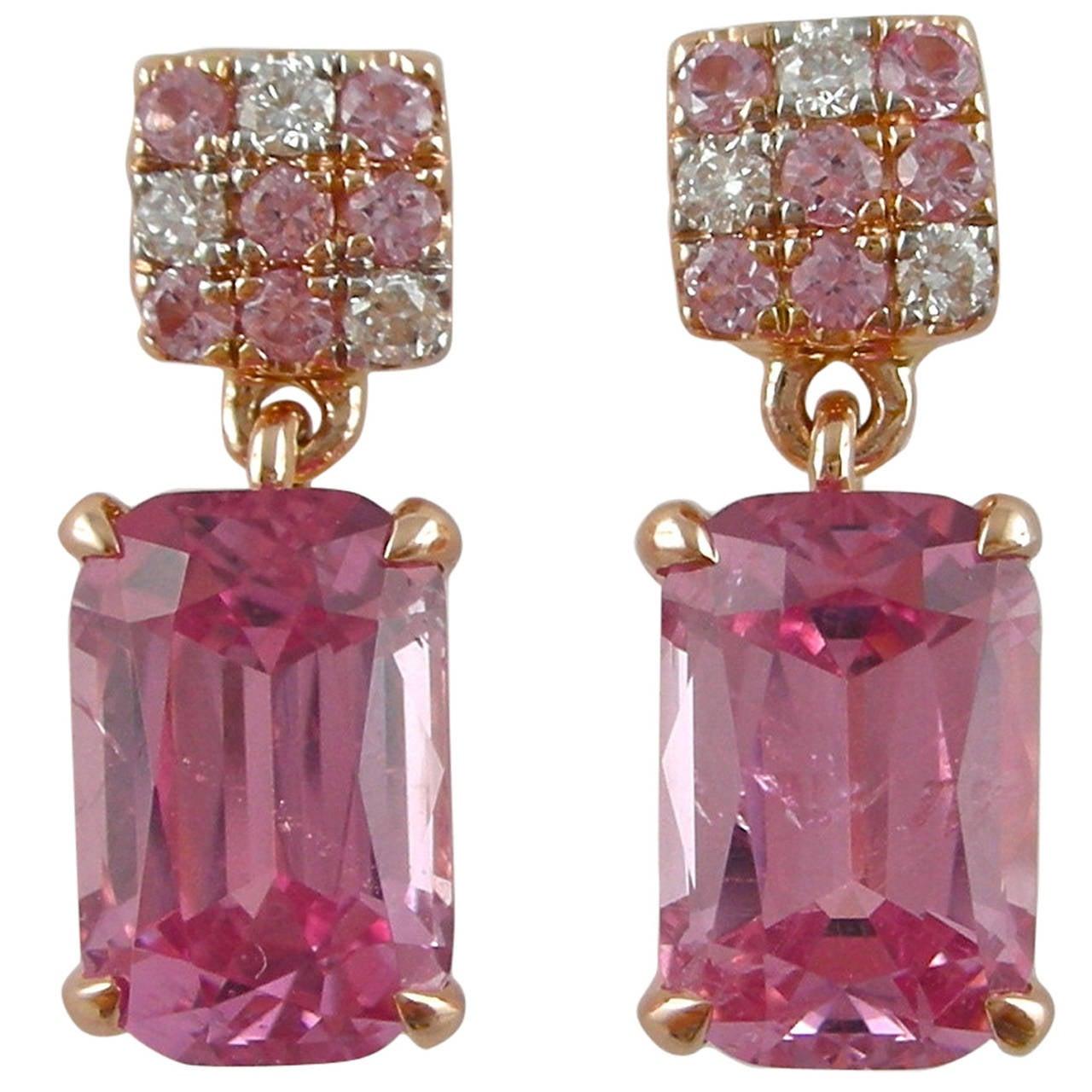 Jona Pink Spinel Sapphire Diamond Gold Dangle Earrings