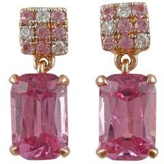 Jona Pink Spinel Sapphire White Diamond 18 Karat Rose Gold Dangle Earrings