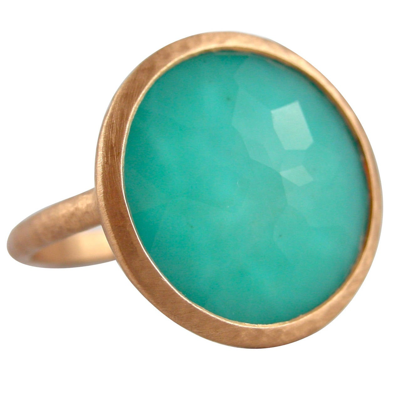 Jona Turquoise Quartz 18k Rose Gold Ring For Sale