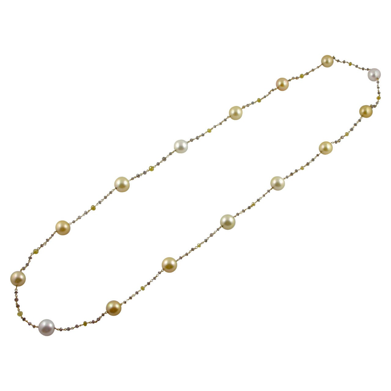 Jona South Sea Pearl Briolette Cut Diamond Sautoir 18k Yellow Gold Necklace